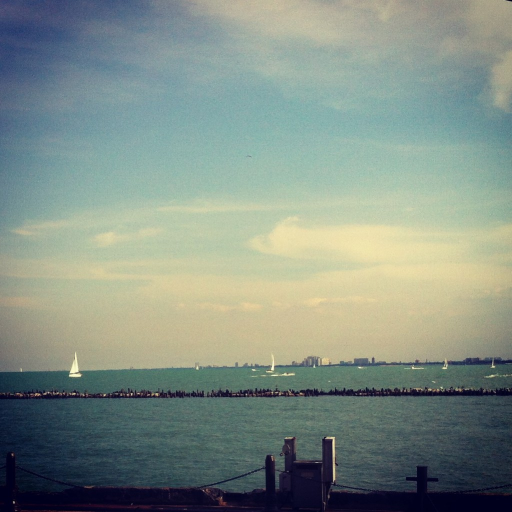 Sailboats on Lake Michigan.