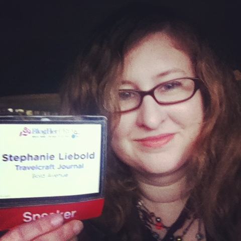 Me with my BlogHer Pro speaker badge