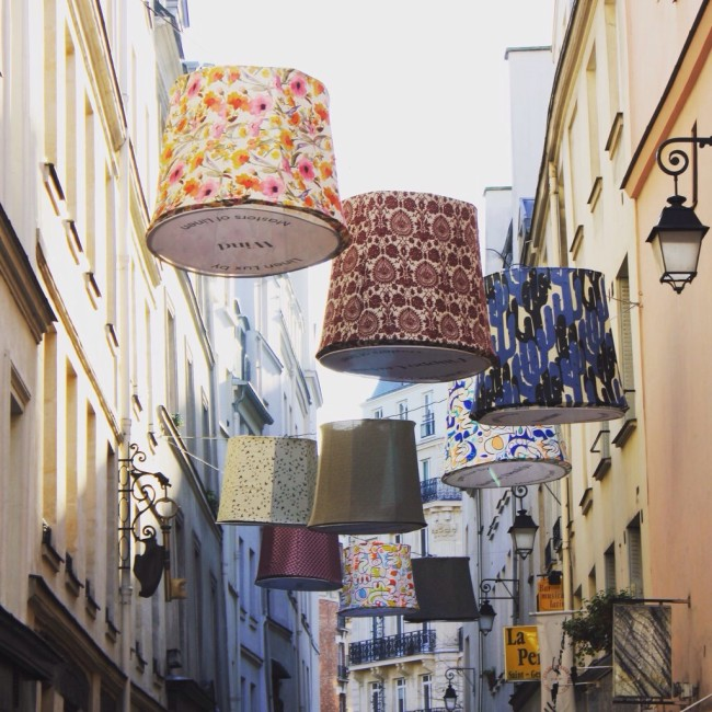 Lamp shades in Paris via Fat Tire Paris