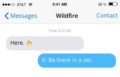 Text from a wildfire