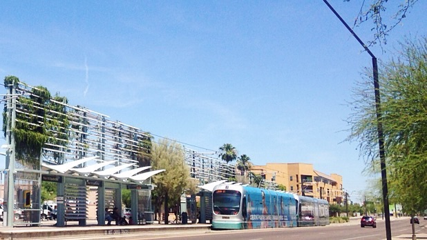 Mesa light rail station with train