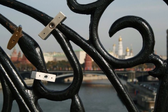Moscow locks on bridge