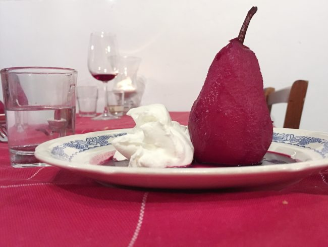 Pears in wine