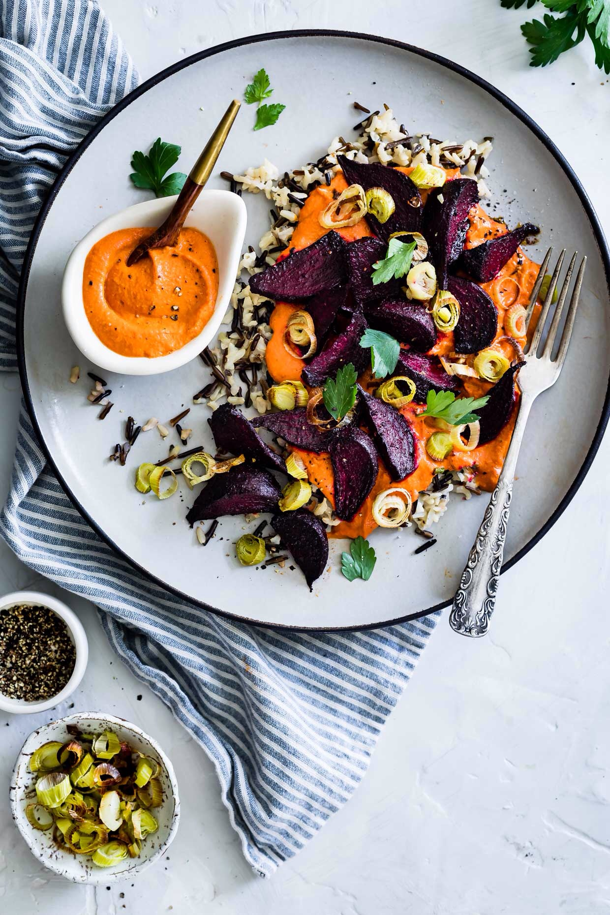 Roasted beets and wild rice