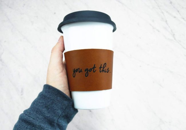 Reusable Leather Coffee Sleeve by Wilhelm and Frienda
