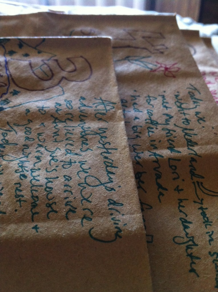 art journal pages on paper bags