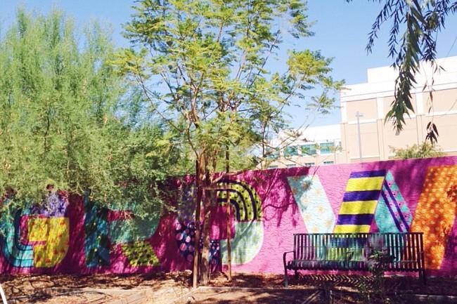 Mural in urban garden, Mesa