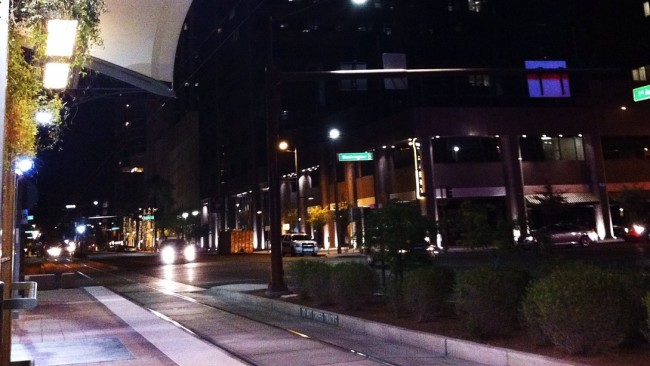 Phx light rail station At night