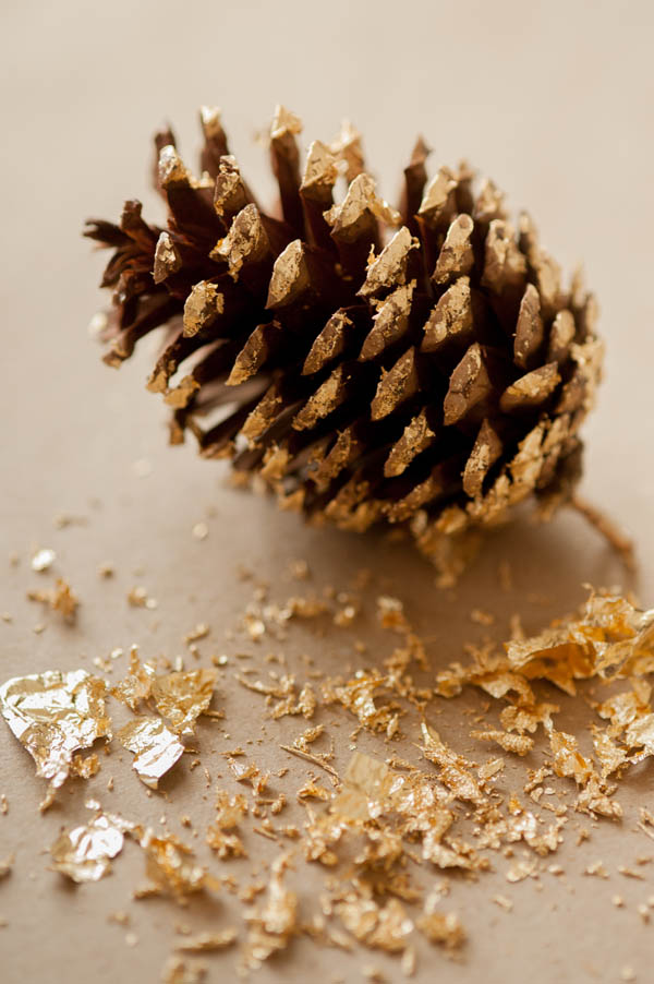Gold leaf on pinecone