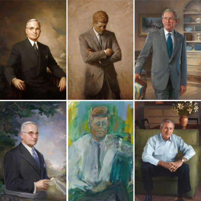 Truman, Kennedy, Bush portraits from White House and NPG