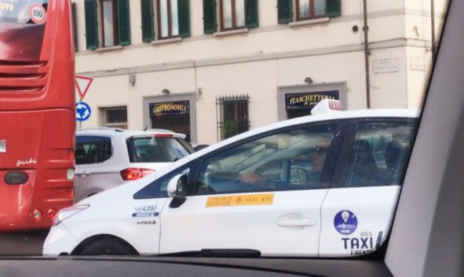Florence taxi in traffic